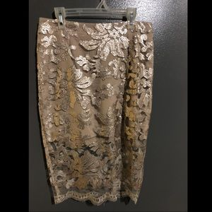 Sequin Lacy Pencil Skirt
